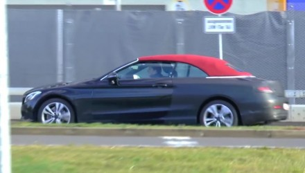 2016 Mercedes-Benz C-Class Cabrio prototype spotted with red roof (video)