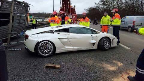 Truck carrying supercars crash France-4