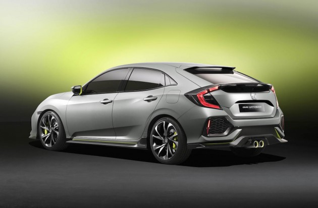 2017 Honda Civic hatch prototype-rear
