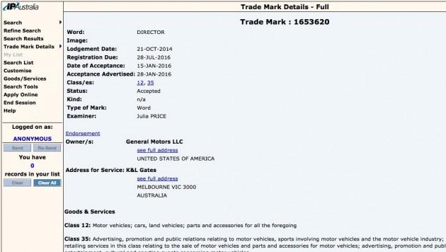 Holden Director trademark