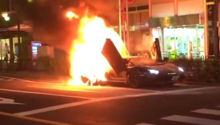 Video: Lamborghini Aventador catches fire in Tokyo
