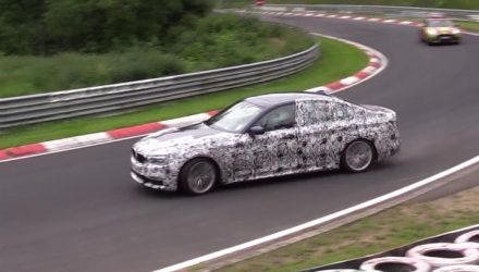 2017 BMW 'G30' 5 Series prototype pushed hard at Nurburgring (video)