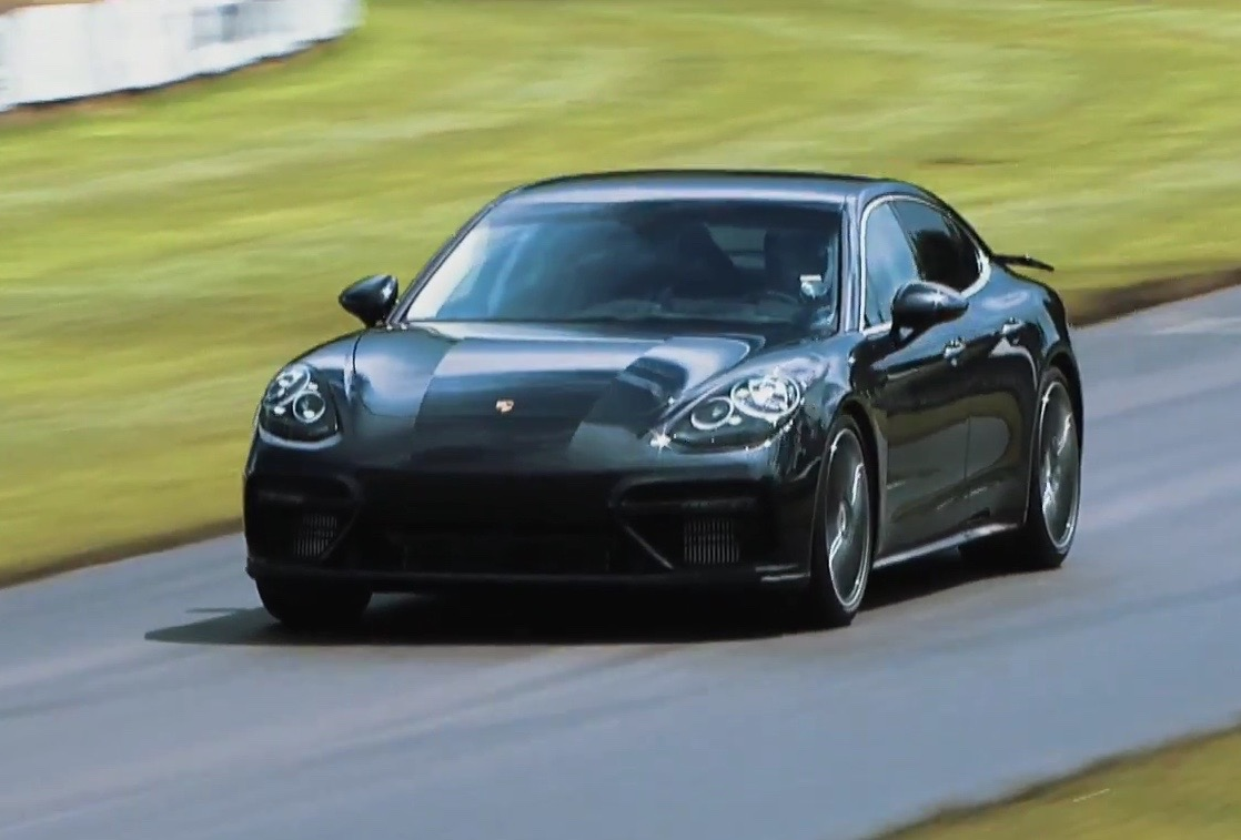 2017 porsche panamera turbo previewed at goodwood hill climb video performancedrive. Black Bedroom Furniture Sets. Home Design Ideas
