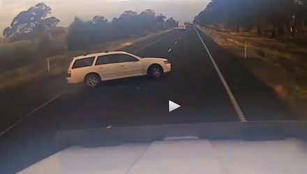 Dashcam captures near-miss with idiot Falcon driver (video)