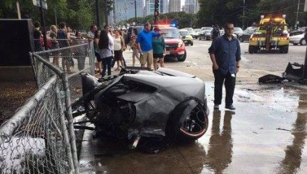 Lamborghini Huracan torn in half in fiery crash