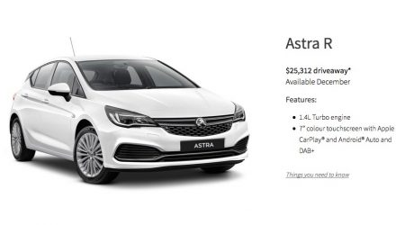 2017 Holden Astra priced from $25,312; R, RS, RS-V confirmed
