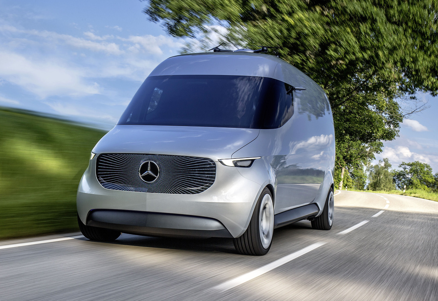 Mercedes reveals futuristic drone studded vision van for Mercedes benz strategic plan