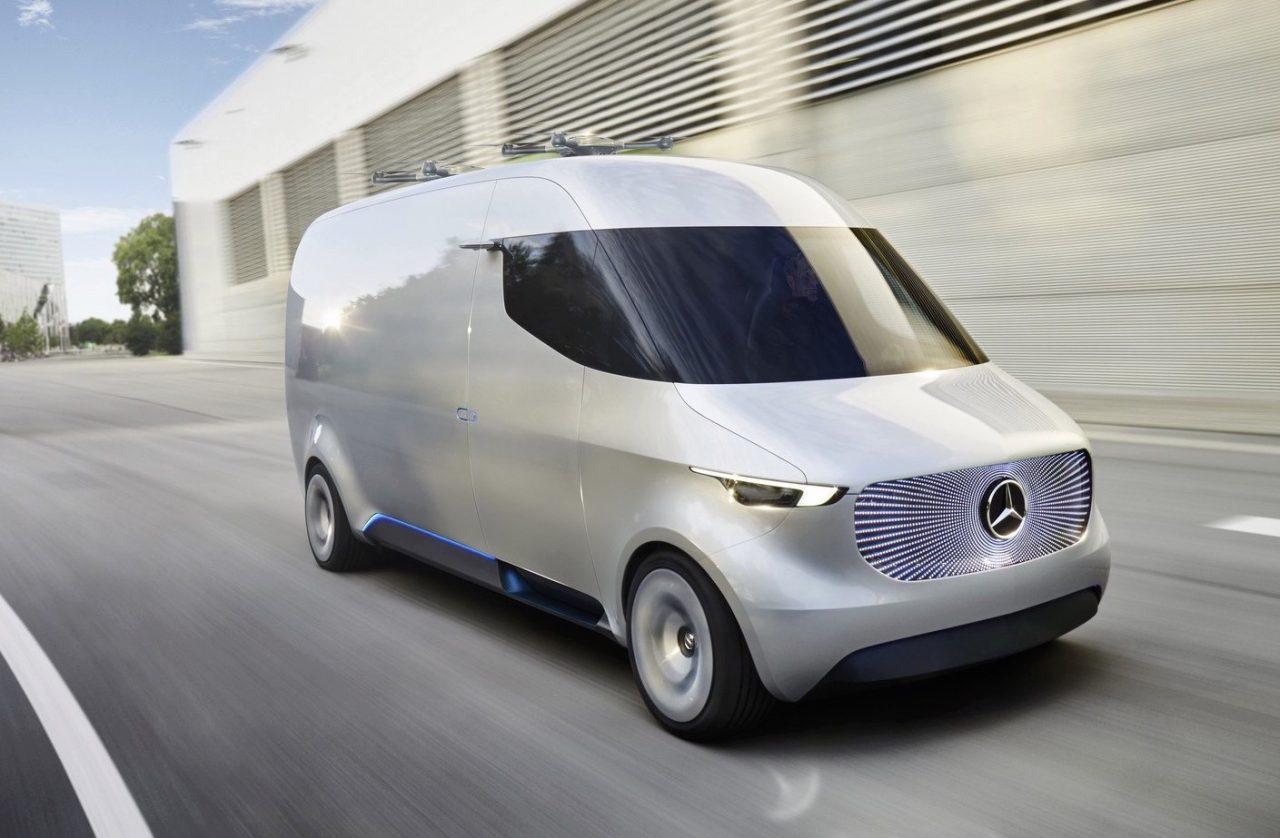 Mercedes reveals futuristic drone studded vision van for Mercedes benz vision