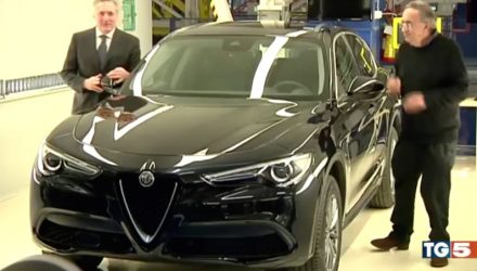 Alfa Romeo Stelvio base model shown on TV news