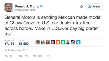 Trump warns GM via Twitter, Cruze production to remain in U.S.