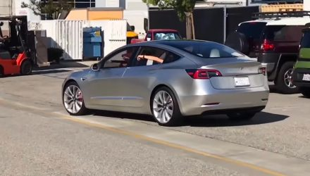 Tesla Model 3 prototype spotted on the streets for first time (video)