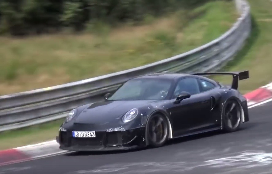 2018 porsche 911 gt2 prototype spotted at nurburgring video performancedrive. Black Bedroom Furniture Sets. Home Design Ideas