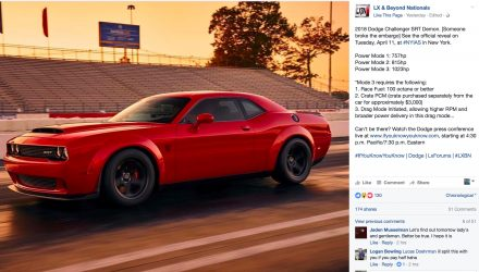 Dodge Challenger SRT Demon to offer up to 1023hp?