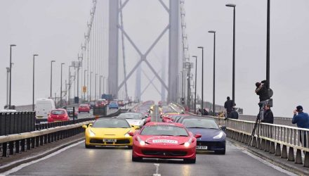 Ferrari parade shuts down bridge to celebrate Owners Club of GB 50th