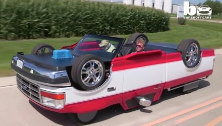 Mans creates pickup truck that drives upside down (video)