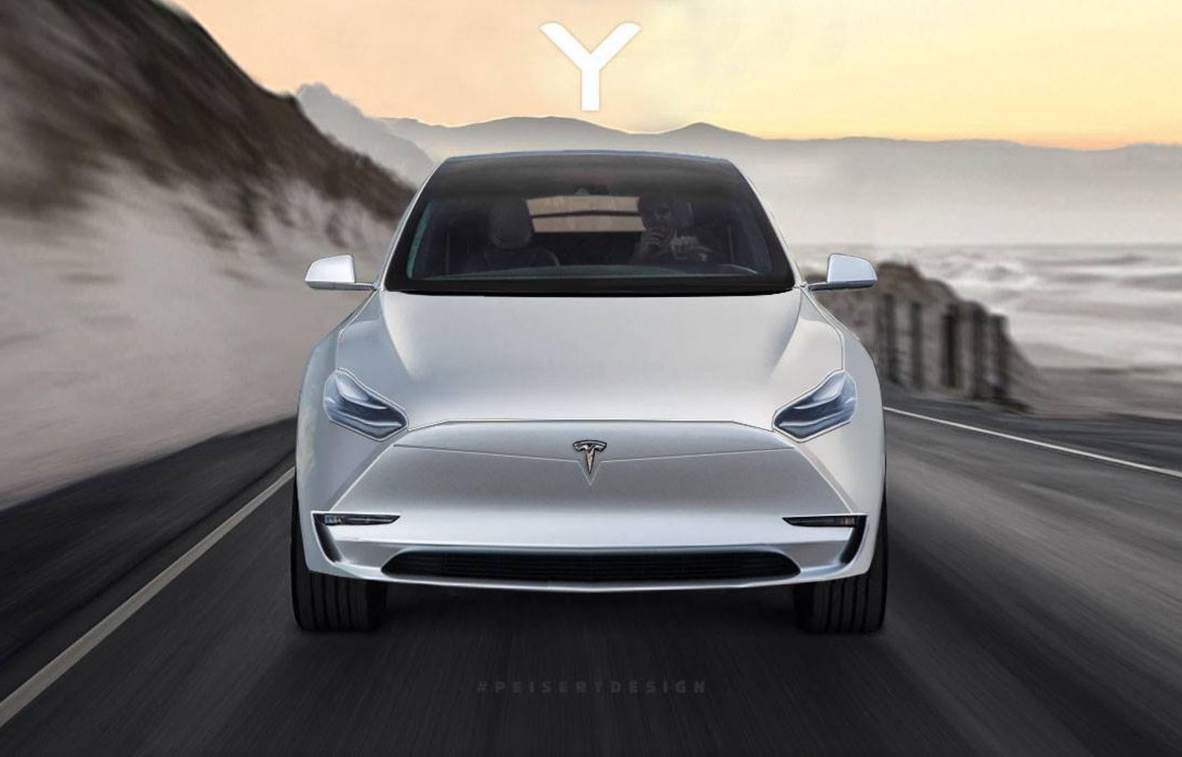 Tesla Model Y rendered, based on teaser (video ...