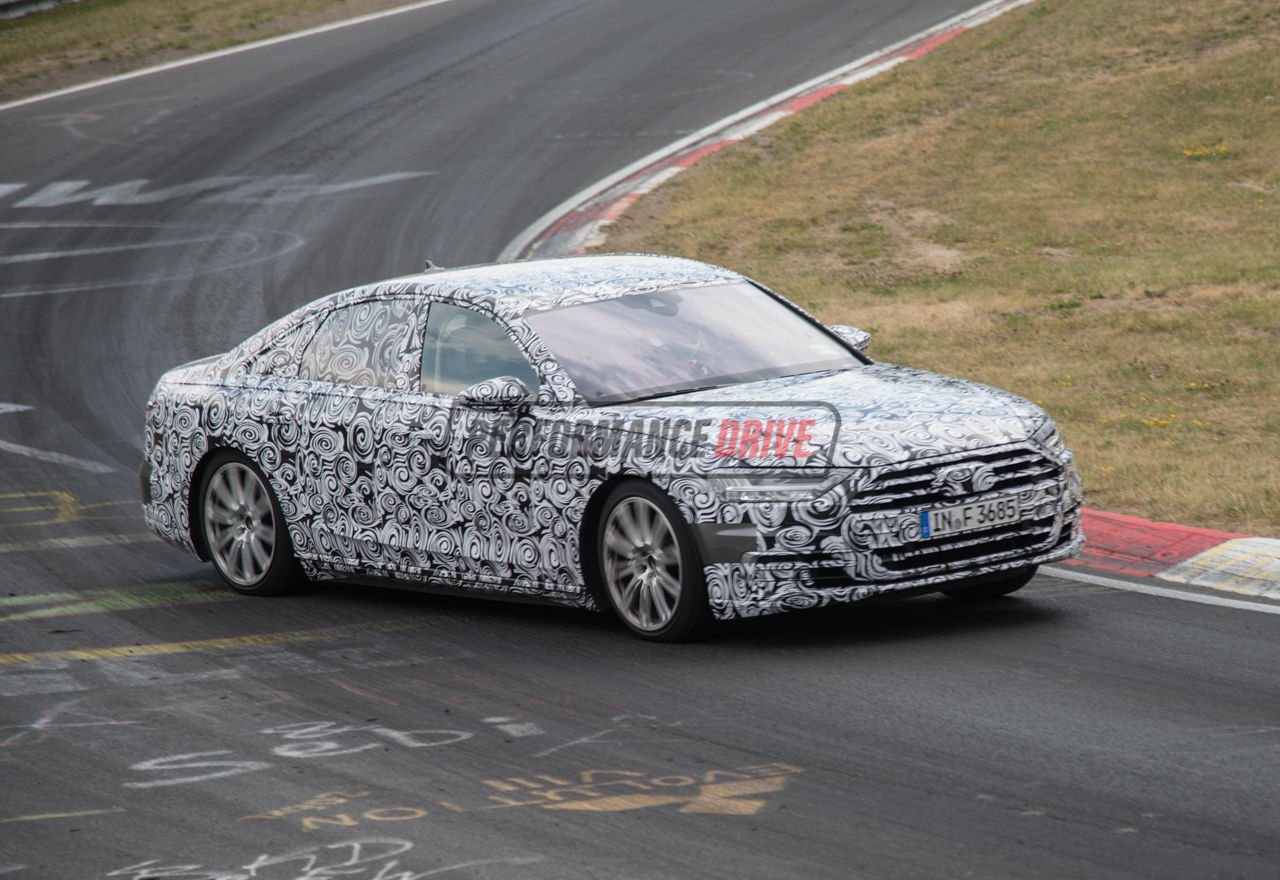 2018 audi a8 spied pushing hard on nurburgring with new. Black Bedroom Furniture Sets. Home Design Ideas