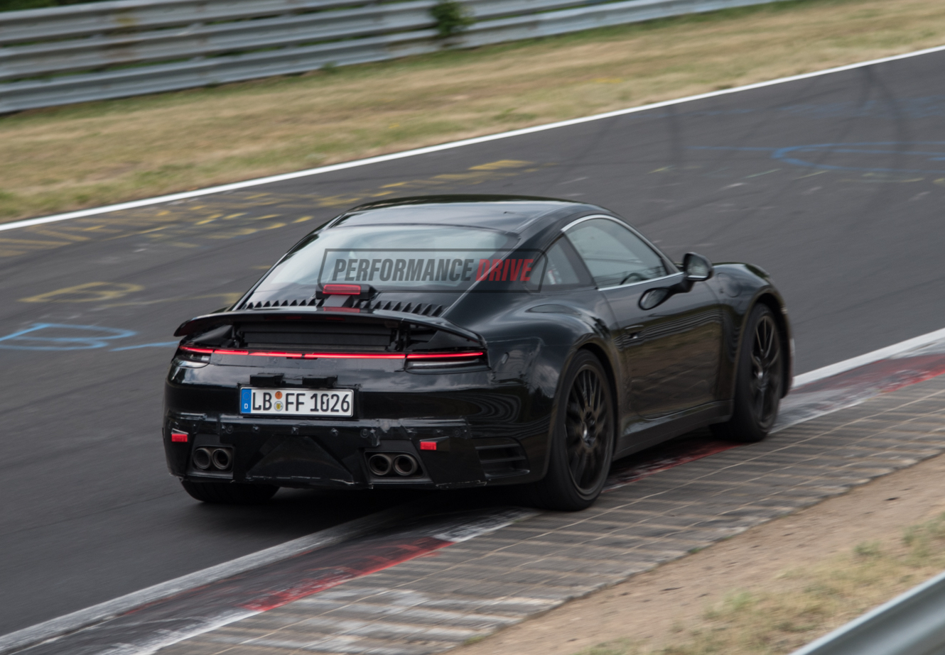 2019 porsche 911 39 992 39 spotted gets wider rear wing quad exhaust video performancedrive. Black Bedroom Furniture Sets. Home Design Ideas