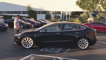First Tesla Model 3 rolls off the production line (video)