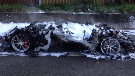 Ferrari F12tdf catches fire on autobahn in Germany