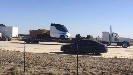 Tesla truck spotted, shows futuristic design