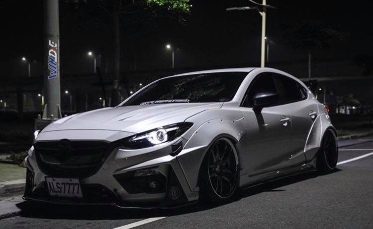 mazda3 given crazy widebody treatment by jgtc. Black Bedroom Furniture Sets. Home Design Ideas