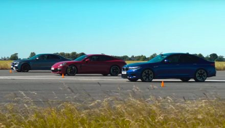 Video: BMW M5 vs Mercedes-AMG E63 vs Porsche Panamera Turbo S E-Hybrid